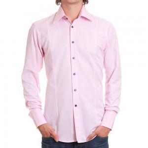 اللون الوردي قميص للرجال فقط